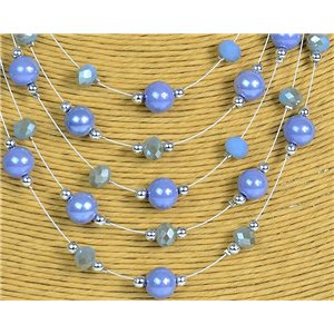 New Collection 2019-2020 Parure Collier 5 rangs de Perles en Suspension L44-48cm 77184