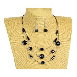New Collection Parure Collier 3 rangs de Perles en Suspension L44-48cm 77185