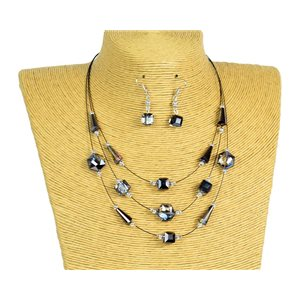 New Collection Parure Collier 3 rangs de Perles en Suspension L44-48cm 77187
