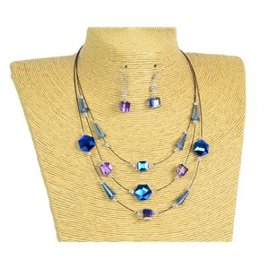 New Collection Parure Collier 3 rangs de Perles en Suspension L44-48cm 77189