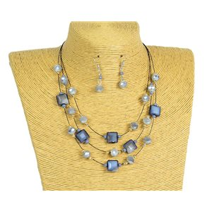 New Collection Parure Collier 3 rangs de Perles en Suspension L44-48cm 77192