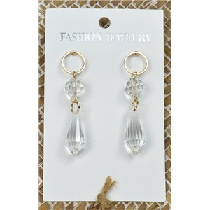 1p Earrings Gold Nail Pearl Crystal Chic Collection 77433