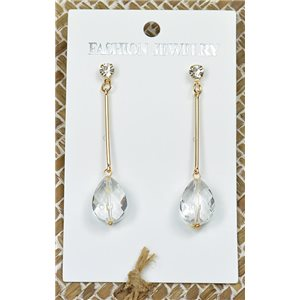 1p Earrings Golden Nail Pearl Crystal Chic Collection 77441