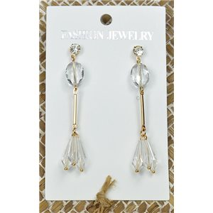 1p Earrings Golden Nail Pearl Crystal Chic Collection 77447