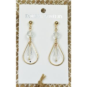 1p Earrings Golden Nail Pearl Crystal Chic Collection 77449