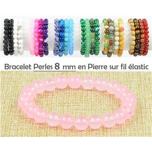 8mm Rose Quartz Stone Beads Bracelet with Elastic Thread 77468