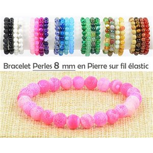 8mm Rose Stone Jade Beads Bracelet with Elastic Thread 77469