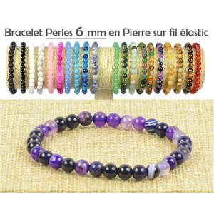 6mm Agate Purple Stone Beads Bracelet on Elastic Thread 77497
