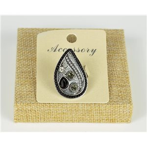 Ethnic Collection 2020 Adjustable ring set with pearls and rhinestones on silver metal 77535