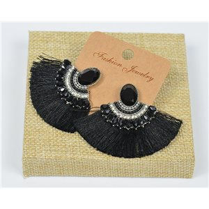 Handmade - 1p Earrings with Nails set with Beads and Strass New Pompom Collection 77641