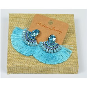 Handmade - 1p Earrings with Nails set with Beads and Strass New Collection Pompon 77644