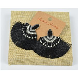 Handmade - 1p Earrings with Nails set with Beads and Strass New Pompom Collection 77649