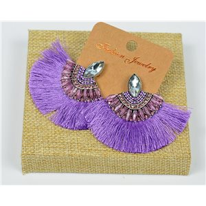 Handmade - 1p Earrings with Nails set with Beads and Strass New Collection Pompon 77652