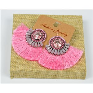 Handmade - 1p Earrings with Nails set with Beads and Strass New Collection Pompon 77654