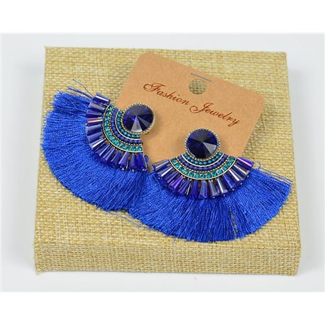 Handmade - 1p Earrings with Nails set with Beads and Strass New Pompom Collection 77664