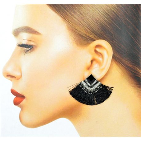 Handmade - 1p Earrings with Nails set with Beads and Strass New Collection Pompon 77673