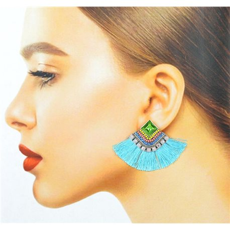 Handmade - 1p Earrings with Nails set with Beads and Strass New Collection Pompom 77675