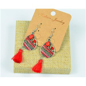 1p Earrings Crochet Tassel and Rhinestone New Ethnic Collection 77606