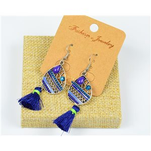 1p Earrings Crochet Tassel and Rhinestone New Ethnic Collection 77608