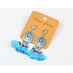 1p Boucles Oreilles à Clou Pompon et Strass New Collection Ethnique 77611
