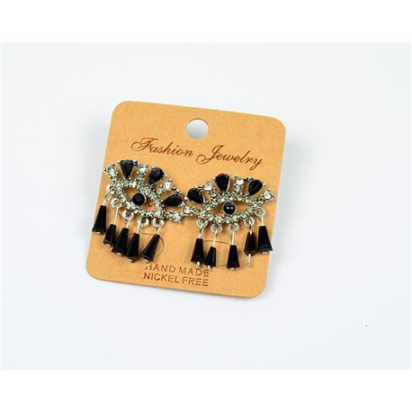 1p Earrings Nail Beads and Rhinestones Ethnic New Collection 77589