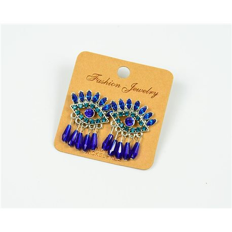 1p Earrings Nail Beads and Rhinestones Ethnic New Collection 77596