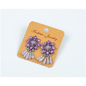 1p Boucles Oreilles à Clou Perles et Strass New Collection Ethnique 77604