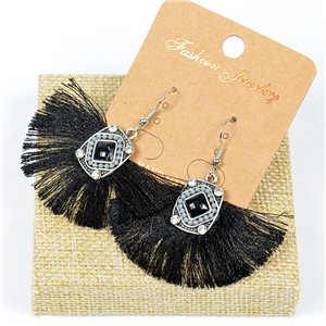 1p Earrings Crochet Tassel and Beads New Ethnic Collection 77613