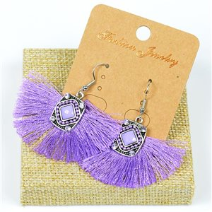 1p Earrings Crochet Tassel and Pearls New Ethnic Collection 77616