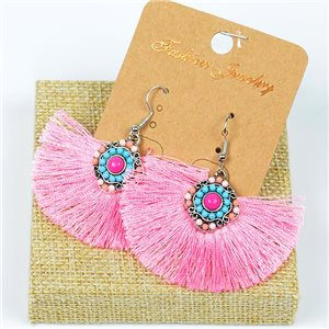 1p Earrings Crochet Tassel and Beads New Ethnic Collection 77624