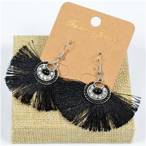 1p Earrings Crochet Tassel and Beads New Ethnic Collection 77625