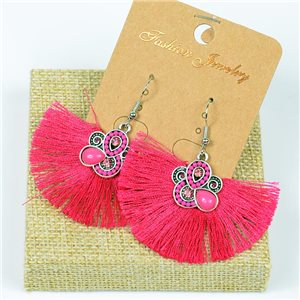 1p Boucles Oreilles à Crochet Pompon et Perles New Collection Ethnique 77630