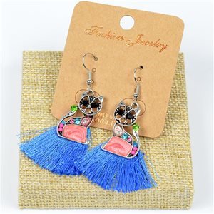 1p Earrings Crochet Tassel and Beads New Ethnic Collection 77640