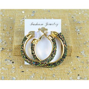 1p Earrings with Glitter Hoops 45mm clamshell closure New Collection 77684