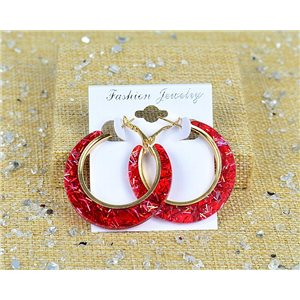1p Boucles Oreilles Paillettés Créoles 45mm fermeture à clapet New Collection 77687