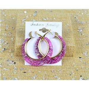 1p Earrings Spangled Hoops 45mm clamshell closure New Collection 77688