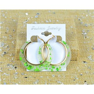 1p Earrings Spangled Hoops 45mm clamshell closure New Collection 77696