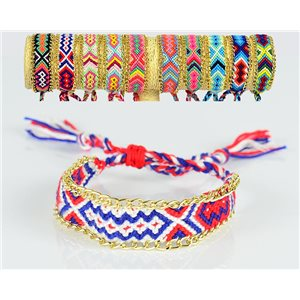 Braided cotton cuff bracelet on sliding knot New Ethnic Collection 77735