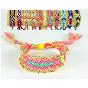Braided Cotton Cuff Bracelet on Sliding Knot New Ethnic Collection 77738