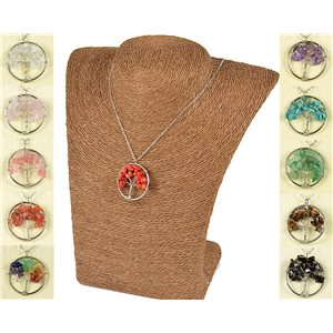 Pendant Necklace Happiness Tree of Life 30mm on Carnelian Stone 77747