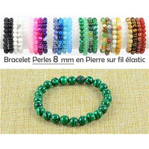 8mm Malachite Stone Beads Bracelet on Elastic Thread 77758