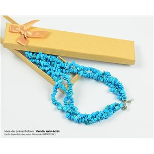 Collier Triple Rang en Pierre Howlite Turquoise L48-56cm New Collection 77766