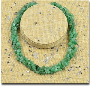 Green Aventurine Stone Triple Rank Necklace L48-56cm New Collection 77767