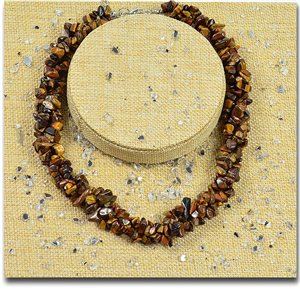 Tiger Eye Triple Row Stone Necklace L48-56cm New Collection 77770