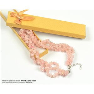 Collier Triple Rang en Pierre Quartz Rose L48-56cm New Collection 77763