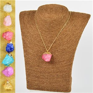 Mineral Quartz Pendant Necklace on Gold Metal Chain L40-46cm New Collection 77776