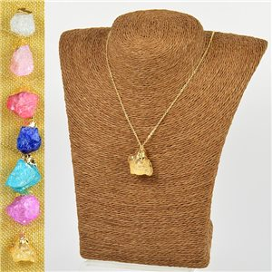 Mineral Quartz Pendant Necklace on gold metal chain L40-46cm New Collection 77780