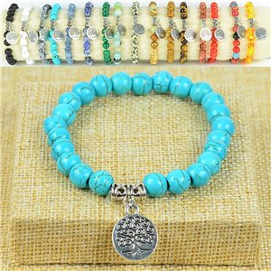 Living Tree Tree Life Beads Bracelet 8mm Howlite Turquoise Stone on Elastic Wire 77879