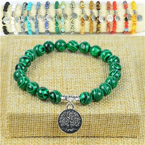 Bracelet Life Beads Tree of Life Pearls 8mm Malachite Stone on elastic thread 77882