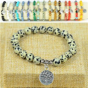 Tree of Life Life Beads Bracelet 8mm Stone Dalmatian Jasper on elastic thread 77885